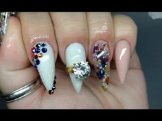 How To Apply Acrylic Nails On Yourself With Bling - YouTube