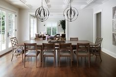 Morgante Wilson Architects added a coffered ceiling to give additional visual interest to this dining room. Hubbardton Forge pendants help anchor the Baker dining table and chairs. Dining Room Lighting, Dining Room Sets, Dining Table Chairs, Dining Room Design, Dining Room Furniture, Beautiful Dining Rooms, Interior Design Inspiration, Contemporary Furniture, Home Decor
