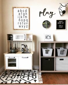 56 Sweet Home Decor Everyone Should Try This Year Home Decor. Some great ideas for kids rooms and playrooms, from creative storage solutions for toys, to realistic play kitchens, black and white monochrome colour palettes and lots Playroom Design, Playroom Decor, Boys Playroom Ideas, Modern Playroom, Small Playroom, Toddler Playroom, Playroom Organization, Modern Kids Rooms, Little Girls Room Decorating Ideas Toddler