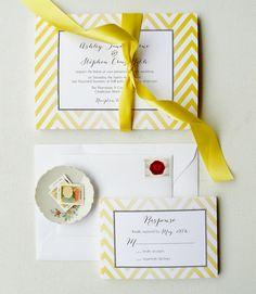 Lemon Chevron Wedding Invitation