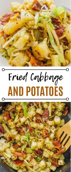 This is a really easy fried cabbage and potatoes recipe with crispy bacon. Only six ingredients and one pan needed. soup, recipes, rolls, pickled, ste… - New Site Fried Cabbage And Potatoes, Fried Cabbage Recipes, Southern Fried Cabbage, Sauteed Cabbage, Cabbage And Bacon, Potato Recipes, Soup Recipes, Fried Potatoes, Southern Cabbage Recipes