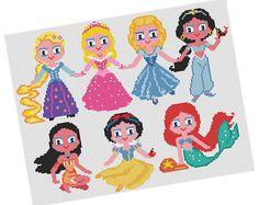 PRINCESSES Cross stitch Pattern PDF  Rapunzel Aurora di POWSTITCH