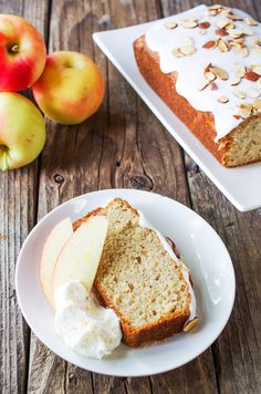 Iced apple loaf cake with toasted almonds
