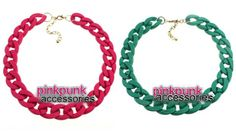 Pink and Green Chain Necklace  ~Shop Pink Punk~