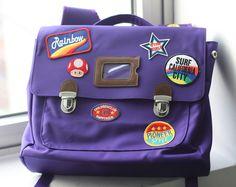 Custom patch work of purple school bag for kids TYPE A #02