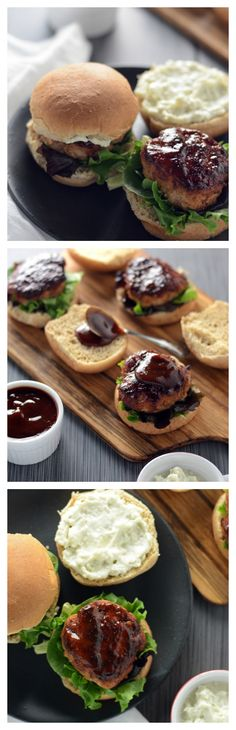 Spicy bourbon barbecue sauce is slathered on beef or turkey sliders and topped with bleu cheese spread.