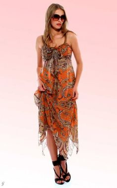 Silky babydoll dress, brown-orange