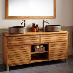 """Teak double-vessel-sink vanity: 60"""" Caldwell Teak Double Vessel Sink Vanity - Bathroom"""
