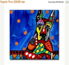 45% Off Today- Great Dane art Tile Ceramic Coaster Mexican Folk Art Print of painting by Heather Galler dog