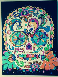 Acrylic on Canvas  Rainbow Sugar Skull by WestendColours on Etsy, $70.00