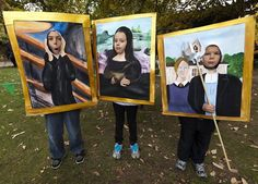 "Masterpiece theater: In Nampa, Idaho, Edvard Munch's ""The Scream,"" Leonardo Da Vinci's ""Mona Lisa"" and Grant Wood's ""American Gothic"" practice the art of trick-or-treating. Photo: Darin Oswald, Associated Press / SF"