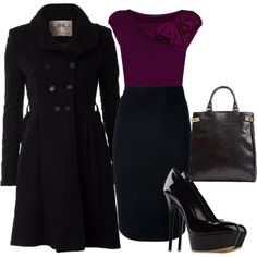 Purple bow shirt, black pencil skirt. Effortless but still sexy.