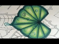 How I color a leaf with drops in the Magical Jungle coloring book | Selva Magica Youtube - Olly LoveArt