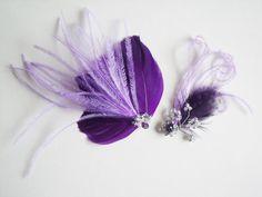 Purple Ostrich Bridal Headpiece Set - Purple Fascinator