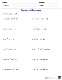 Factoring All Techniques Polynomial Functions Worksheets