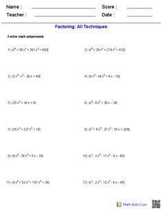 Solving Quadratic Equations By Factoring | Math-Aids.Com ...