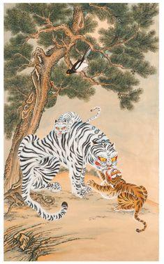 대한민국민화공모대전 - 김현수(경기) - 호작도(엄마마음) Japanese Drawings, Japanese Art, Korean Art, Asian Art, Traditional Artwork, Traditional Design, Korean Mythology, Tiger Rug, Tiger Painting