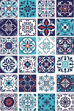 Tile Patterns, Pattern Art, Pattern Design, Tile Art, Mosaic Art, Tiles, Motifs Islamiques, Motif Arabesque, Islamic Art Pattern