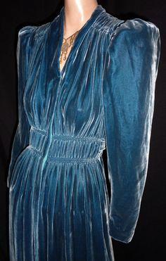 Gorgeous 40s Mediterranean Blue Ruched Silk Velvet Hostess Gown