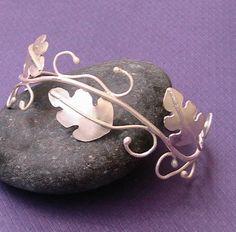 Sterling Silver Oak Leaves Cuff Bracelet - Beautiful!