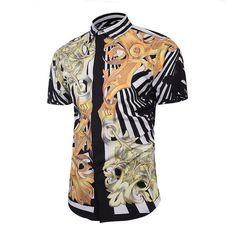 Men's Shirts High Quality Fashional Customize Short Sleeve Men Hawaiian Shirt Newest Style Rice Boys Dress Shirts 3D Unique Dress Shirts