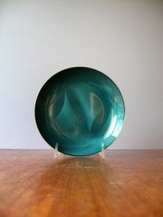 Vintage Mid Century Cathrineholm Cathedral Plate - Teal