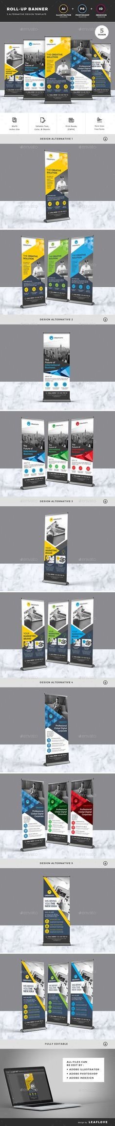 Roll-up Banners Template PSD, Vector EPS, InDesign INDD, AI Illustrator