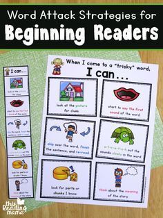 Word Attack Strategies for Beginning Readers - free student page, bookmark, & wall charts - This Reading Mama