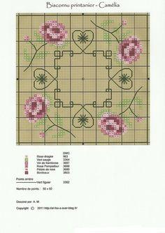 Cross-stitch Pretty Floral Biscornu