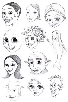Whimsical face doodle sketches