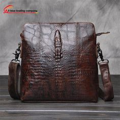 Crocodile leather style vertical section small satchel leisure package  Messenger Brown single Shoulder Bags Leather Men 23001e4e70