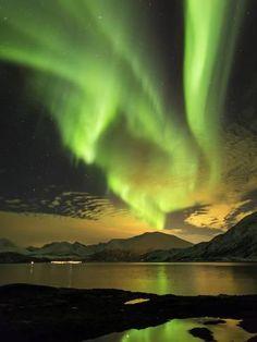 Photographic Print: Aurora Borealis, Northern Lights, Troms Region, Norway by Gavin Hellier : 24x18in