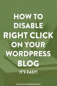 In this tutorial I'll show you how to disable right click on your WordPress blog. It's easy!