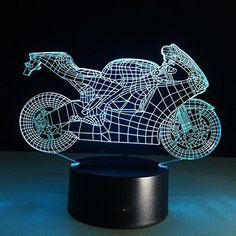 3D Colorful Motorbike Lamp Led Light 7 Color Decoration With Remote Control