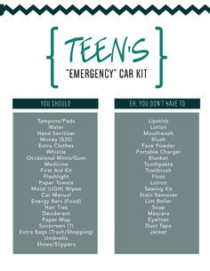 You don't have to follow EVERYTHING, but here are MY essentials. It's TEEN'S emergency car kit (not the real kind emergency).