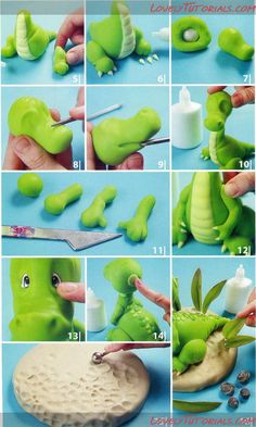 Dragon - looks like it's made with cold porcelain but would be very cute done in fondant for a cake! Dino Cake, Dinosaur Cake, Cake Topper Tutorial, Fondant Tutorial, Fondant Figures, Clay Figures, Fondant Toppers, Fondant Cakes, Cupcake Toppers