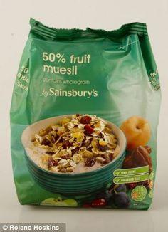 Even 'healthy' breakfast cereals like Sainsbury's muesli contains three teaspoons of sugar...
