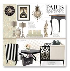 """""""Paris Apartment"""" by anitadz ❤ liked on Polyvore featuring interior, interiors, interior design, home, home decor, interior decorating, Cole & Son, Noir, Stonebriar Collection and Dot & Bo"""