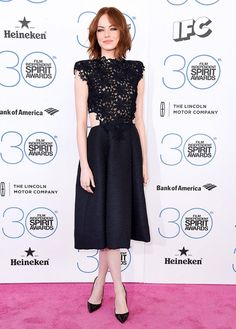 Emma Stone in a gorgeous lace and cut-out Monique Lhuillier dress at the 2015 Film Independent Spirit Awards