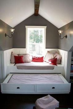 Bed in front of window.  Love the Pull out concept for third floor.