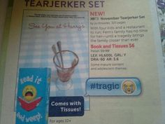 From the Scholastic catalog, a new feature: Comes with tissues! Four Kids, Catalog, Bring It On, Brochures