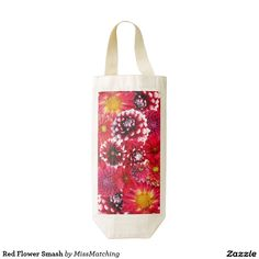 Red Flower Smash Zazzle HEART Wine Bag