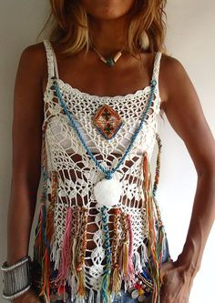 Handmade Fringed Crochet Top/ Off-White Color/ Boho Style Crochet Tunic, Crochet Clothes, Crochet Lace, Free Crochet, Crochet Bikini, Hippie Crochet, Crochet Summer, Moda Country, Hippie Stil