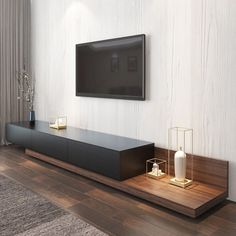 "Kayla Wood Black and Walnut Adjustable TV Stand Console with Storage, 79"" to 110"" Living Room Tv Unit Designs, Interior Design Living Room, Tv Unit Interior Design, Interior Ideas, Modern Tv Room, Modern Tv Wall Units, Tv Console Modern, Modern Living, Modern Closet"