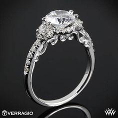 20k Rose Gold Verragio INS7003 Half Eternity Halo Diamond