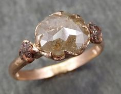 Faceted Fancy cut Champagne Diamond Engagement 14k Rose Gold Multi stone Wedding Ring Rough Diamond Ring byAngeline 0605
