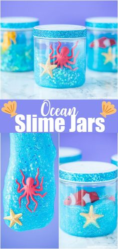 How to make glitter ocean slime - this fun aquarium inspired craft is a great boredom buster idea and party favor for an under the sea party!
