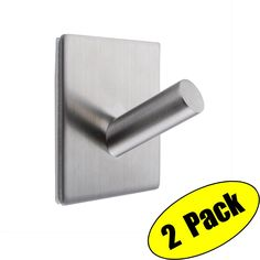 KES 3M Self Adhesive Hooks SUS 304 Stainless Steel Heavy Duty Small Coat Picture Hook Self Sitck On Wall Hook Sticky Brushed Finish 2 Pieces, A7063-P2