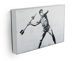 Our Banksy Javelin Thrower canvas print, makes a beautiful addition to any room. Comes ready to hang and also available as a poster Banksy Canvas Prints, Modern Canvas Art, Street Art, Paintings, How To Make, Poster, Paint, Painting Art, Painting