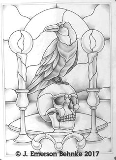 The Raven Stained glass pattern 16 x 22 Stained Glass Tattoo, Stained Glass Birds, Stained Glass Panels, Stained Glass Patterns Free, Stained Glass Designs, Stained Glass Projects, Free Mosaic Patterns, L'art Du Vitrail, Desenho Tattoo